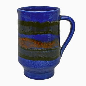 Mid-Century Modern Italian Blue Cylindrical Ceramic Jug with Colored Decoration, 1960s