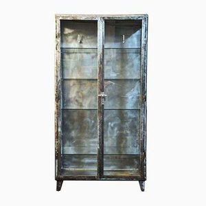 Vintage Industrial Double-Door Medical Display Cabinet in Iron and Glass with 32 Pharmacy Bottles, 1950s