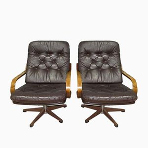 Bentwood & Leatherette Swivel Lounge Chairs, 1970s