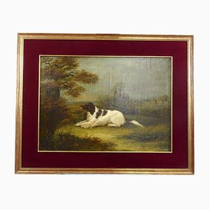 Landscape with Dog, Oil Painting on Canvas, England 19th-Century
