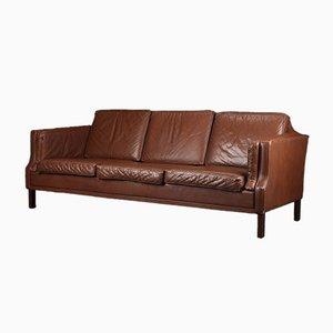 Danish Brown Leather 3-Seater Sofa