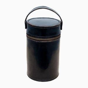 Black Stitched Leather Hip Flask Set, 1930s