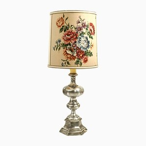 Large Floor Lamp with Floral Shade