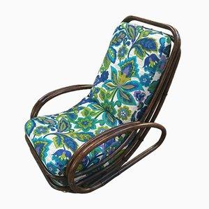 Mid-Century Modern Italian Dark Brown Bamboo Lounge Chair with Original Floral Fabric Cushion, 1970s