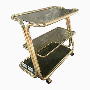 Mid-Century Modern Italian Gilt Metal Bar Cart or Étagère on Wheels with Smoked Glass Shelves, 1970s