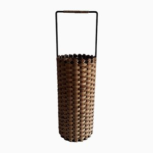 Vintage Slim Round Umbrella Stand with Black Iron Square Frame and Body in Woven Raffia with Pine Wood Struts, 1970s