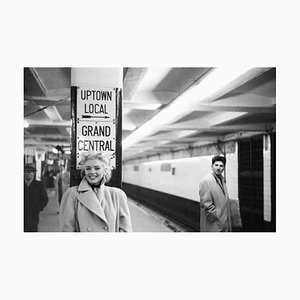Marilyn in Grand Central Station Silver Gelatin Resin Print, Framed in Black by Michael Ochs Archives for Galerie Prints