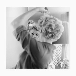 Marilyn Monroe Makes Up Silver Gelatin Resin Print Framed in White by Hulton Archive