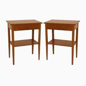 Mahogany Bedside Tables, Sweden, 1950s, Set of 2