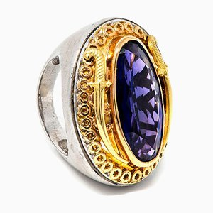 18 Karat Yellow Gold & Silver Ring with Central Amethyst