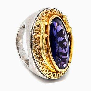 Ring aus 18 Karat Gelbgold & Silber mit Mittelamethyst