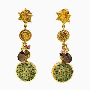 Emerald, Tsavorite & Diamond Earrings in 18 Karat Gold