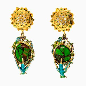 475 Carat Green Turquoise & Gold-Plated Earrings