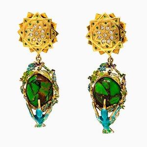 Ohrringe aus 475 Karat Grünem Türkis & Gold
