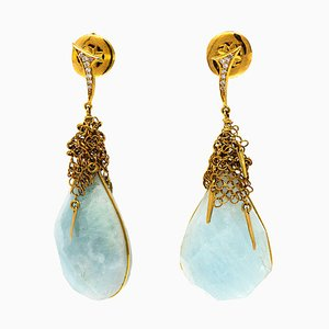 Boucles d'Oreilles en Or 18 Carats avec Maillage en Or, Laiteux Aquamarine et Diamants