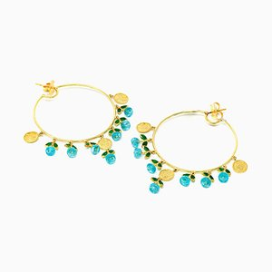 Hoop Earrings in 18 Karat Yellow Gold, Emeralds and Apatite
