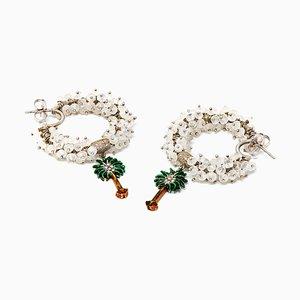 White Gold, Diamond & Labradorite Hoop Earrings