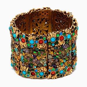 Bracciale turchese, corallo e placcato in oro