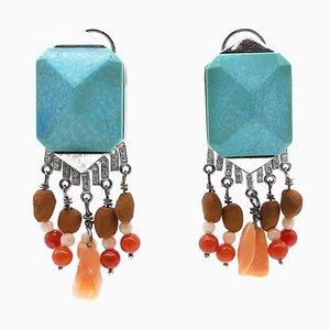 Blue Turquoise & Diamond Earrings