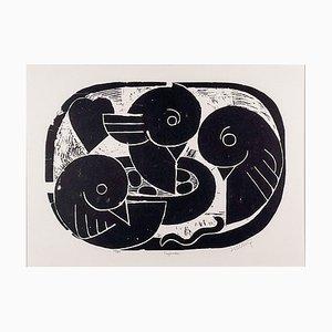 Henry Heerup, Birds Nest, 1950er, Linolschnitt auf Papier