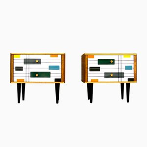Modernist Bedside Chests of Drawers, 1960s, Set of 2