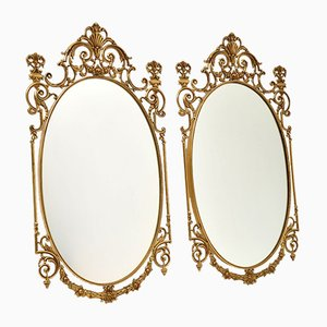 Antique French Style Brass Mirrors, Set of 2