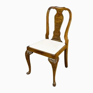 Queen Anne Style Walnut Dining Chairs, Set of 8