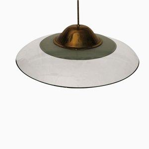 Lampada a sospensione in vetro e ottone di Fontana Arte, anni '60