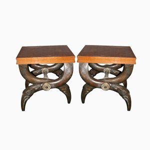 Französische Hocker aus Bronze & Birnenbaum, 1970er, 2er Set