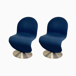 Blue Model 1-2-3 Side Chairs by Verner Panton for Fritz Hansen, Set of 2