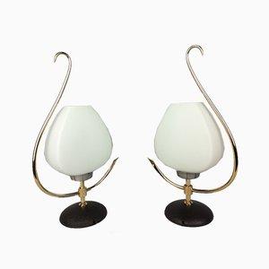 Messing & Opalglas Lampen von Arlus, 1960er, 2er Set