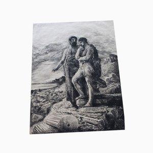 François Nicolas Chifflart, Le Passé, Engraving on Antique Japanese Paper