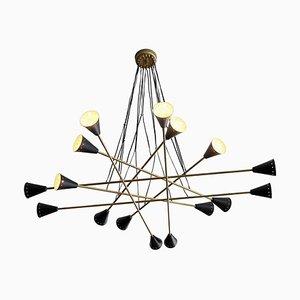Messing Sputnik Kronleuchter, 1950er