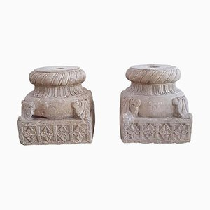 Antique Medieval Hand-Carved Stone Capitals, 1200s, Set of 2