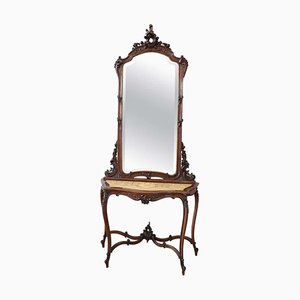 Antique Walnut Console Table with Mirror, 1880