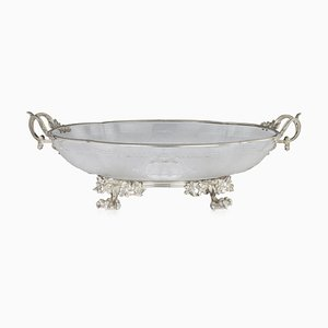 19th Century French Silver & Glass Bowl, 1870s