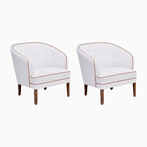 Danish Mid-Century Modern White Armchairs by Ludvig Pontoppidan, Set of 2