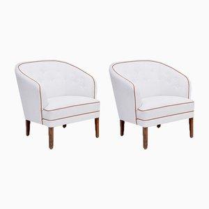 Weiße dänische Mid-Century Modern Armlehnstühle von Ludvig Pontoppidan, 2er Set