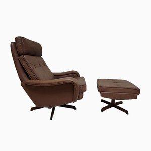 Danish Swivel Chair & Footstool by Madsen & Schübel for Bovenkamp, 1960s, Set of 2