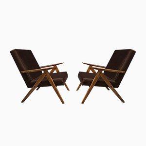 Brauner Mid-Century Sessel aus Samt, 1960er