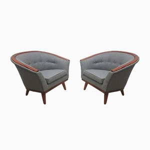 Mid-Century Danish Gray Wool Lounge Chair, 1950s