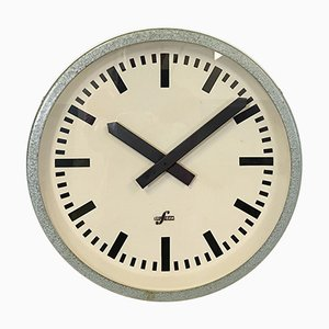 Industrial Green Factory Wall Clock from Elfema, 1960s