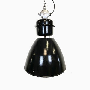 Grande Lampe d'Usine Industrielle Noire de Elektrosvit, 1960s