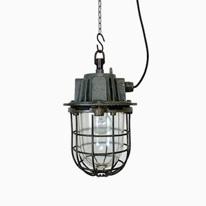 Industrial Gray Cast Iron Pendant Light, 1960s