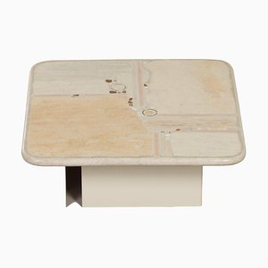 Square White Natural Stone Coffee Table by Paul Kingma, 1980s