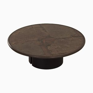 Round Brown Natural Stone Coffee Table by Paul Kingma, 1990s