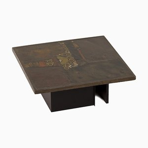 Square Brown Coffee Table with Mosaic by Paul Kingma, 1970s