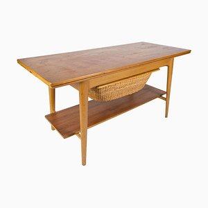 Coffee & Sewing Table in Oak and Teak, Denmark, 1960s