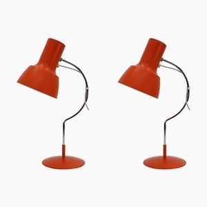 Orange & Red Desk Lamps by Josef Hurka, Czechoslovakia, 1960s, Set of 2