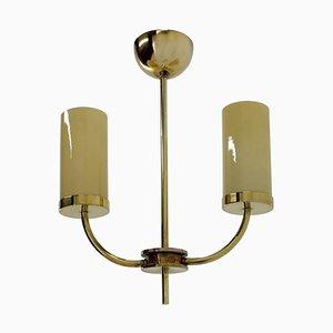 Art Deco or Bauhaus Brass Pendant Lamp, 1930s
